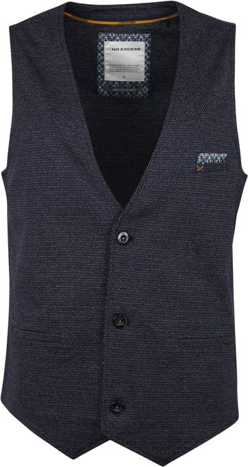 No Excess Gilet Printed Navy