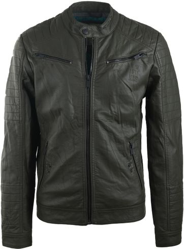 No-Excess Jacket Imitation Leather Dark Green