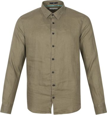 No-Excess Linen Shirt Olivegrun