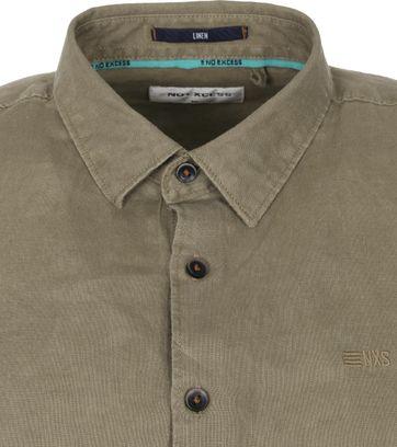No-Excess Linen Shirt Olivegrun
