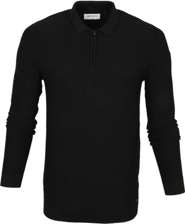 No-Excess LS Polo Zip Zwart