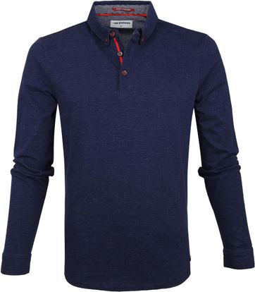 No Excess LS Poloshirt Navy Streifen