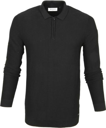 No-Excess LS Poloshirt Zip Black