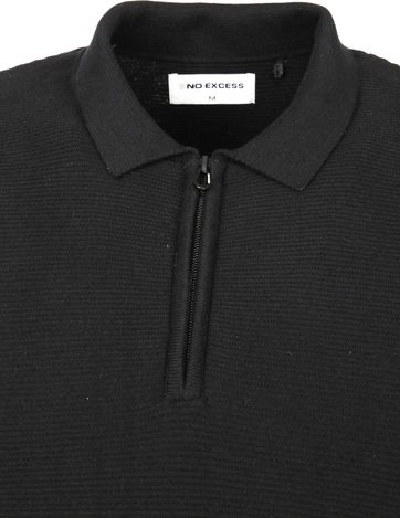 No-Excess LS Poloshirt Zip Schwarz