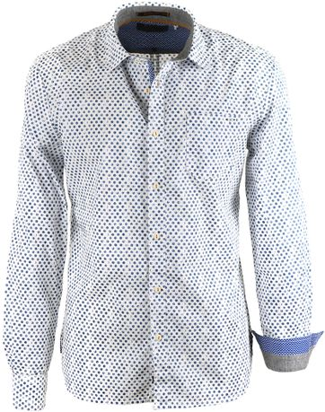 No-Excess Overhemd Blauwe Print