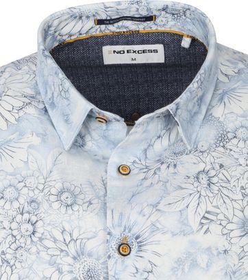No-Excess Overhemd Bloemen Blauw