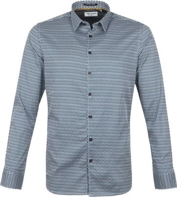 No-Excess Overhemd Patroon Aqua Blauw