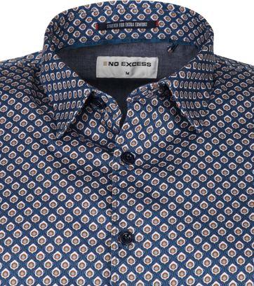 No-Excess Overhemd Patroon Blauw
