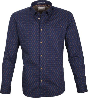 No-Excess Overhemd Print Navy