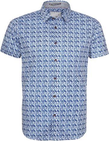 No-Excess Overhemd SS Print Indigo
