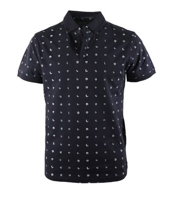 No-Excess Polo Navy Print