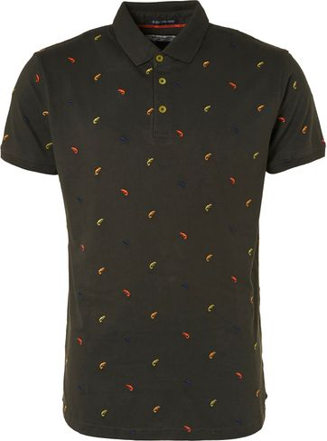No-Excess Polo Shirt Dark Green Print