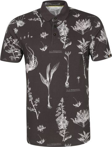 No-Excess Polo Shirt Pique Flowers Black