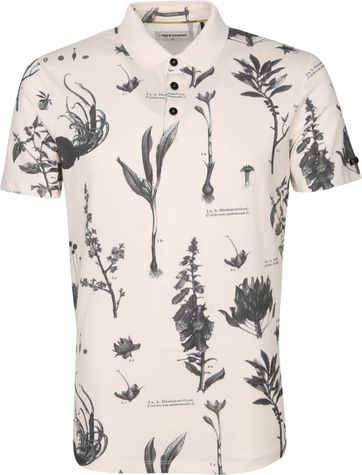 No-Excess Polo Shirt Pique Flowers Off White