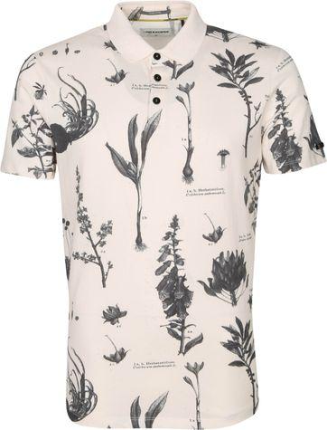 No-Excess Poloshirt Pique Blumen Off White