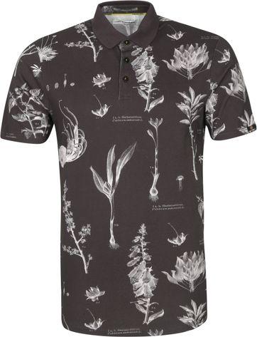 No-Excess Poloshirt Pique Blumen Schwarz