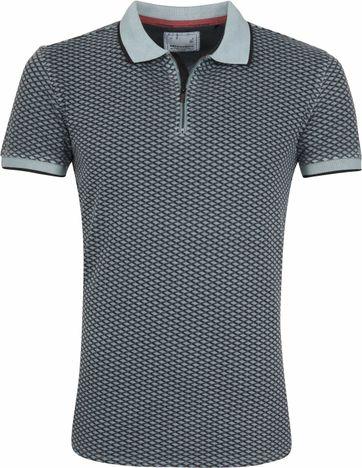 No Excess Poloshirt Printed Blau