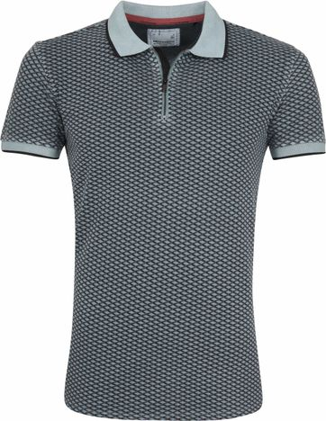 No Excess Poloshirt Printed Blue