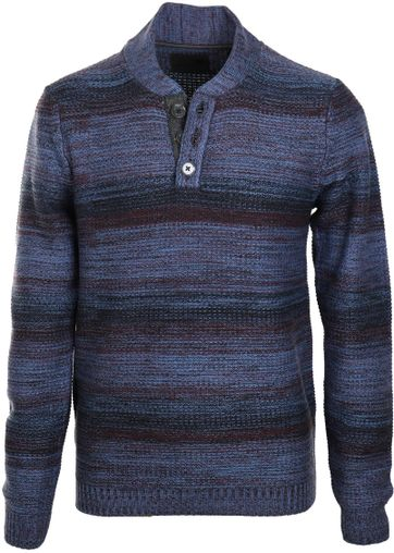 No-Excess Pullover Blau + Bordeaux