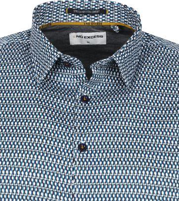 No-Excess Shirt Print Pattern Aqua Blue