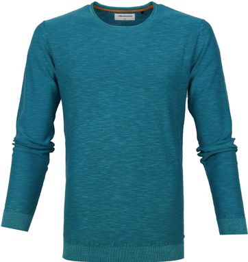 No-Excess Slubyarn Pullover Blue