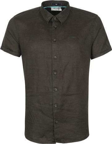 No-Excess SS Shirt Linen Dark Green