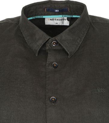 No-Excess SS Shirt Linen Dark Green