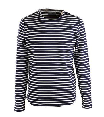 Detail No-Excess Sweater Dunkelblau Streifen
