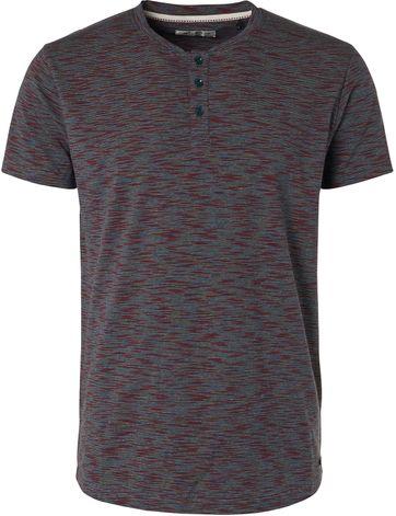 No-Excess T-Shirt Granddad Melange Donkerblauw