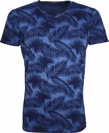 No-Excess T-shirt Palm Print Blauw