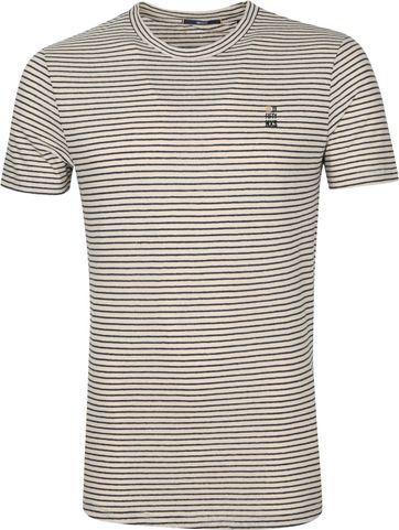 No-Excess T Shirt Stripes Yarn Dye Beige