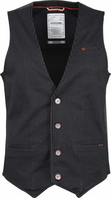 No-Excess Waistcoat Jersey Stripe Black