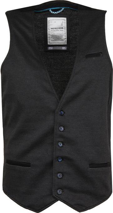 No-Excess Waistcoat Knitted Stripe Dark Grey