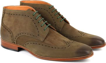 Nubuck Brogue Boots Green