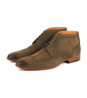 Nubuck Brogue Boots Groen