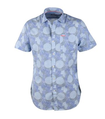 NZA Hemd Blau Grafik 17DN507D