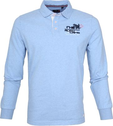 NZA Poloshirt LS Washdyke Spring Blue