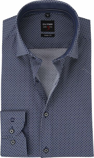 OLYMP Blauw Overhemd Level 5 Dessin WS