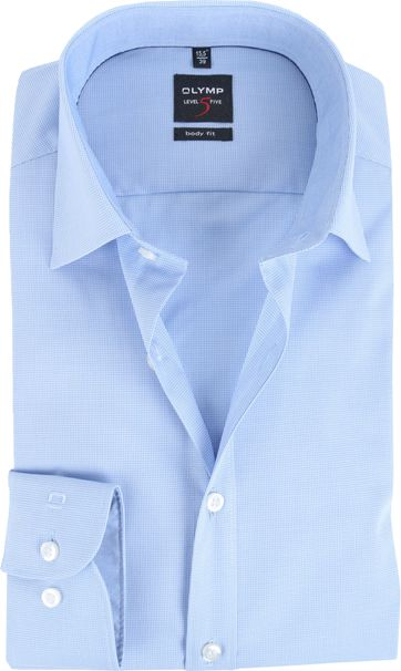 Olymp Body Fit Shirt Blue Check