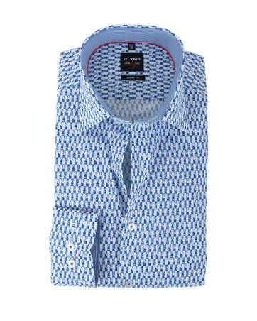 Olymp Hemd Body Fit Blauwe Print