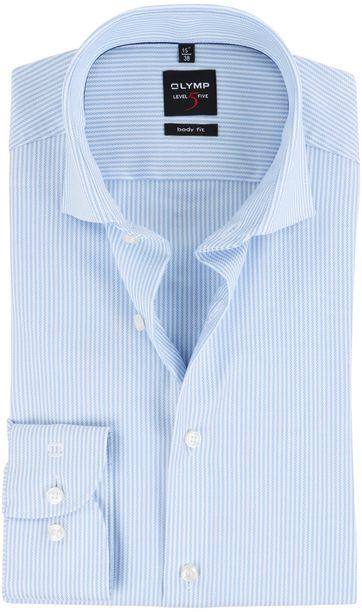 OLYMP Hemd Bügelfrei Blau Streifen Body-Fit