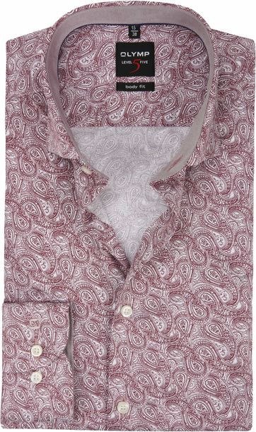 OLYMP Hemd Level 5 Paisley Bordeaux