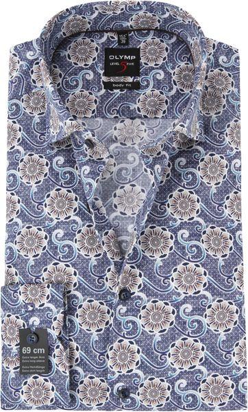 OLYMP Level 5 Overhemd SL7 Blauw Dessin