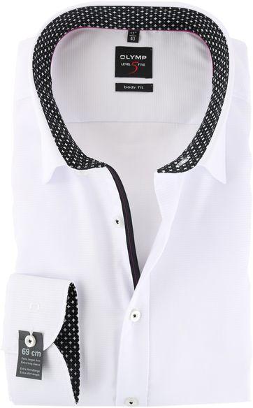 OLYMP Level Five Hemd SL7 Body Fit Weiß Schwarz