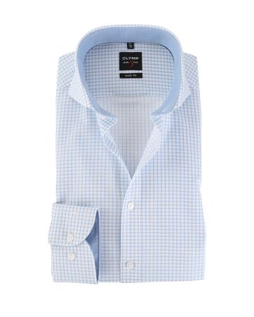 OLYMP Level Five Shirt Body Fit Blauw Ruit