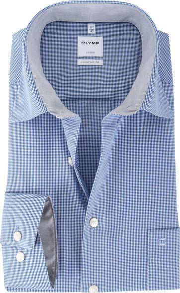 OLYMP Luxor Bügelfrei Hemd Blau Karo Comfort Fit