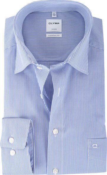 OLYMP Luxor Bügelfrei Hemd Streifen Comfort Fit Blau