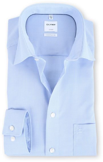 OLYMP Luxor Comfort Fit Shirt Blauw Ruit