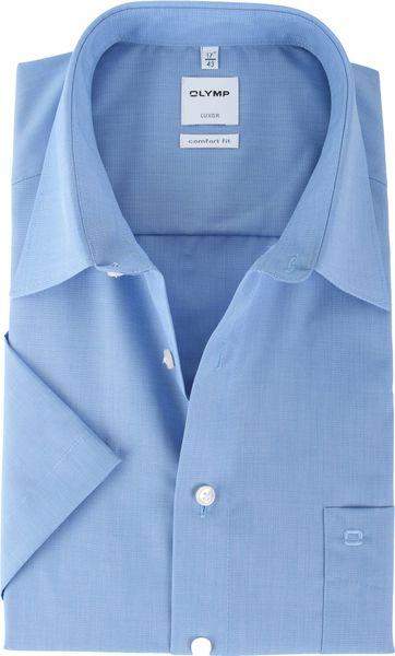 OLYMP Luxor Hemd Comfort Fit Kurzarm Blau