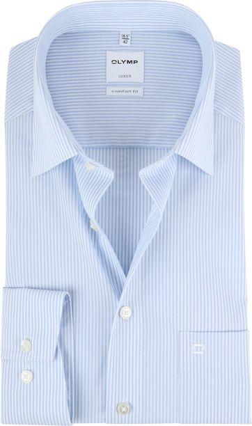 OLYMP Luxor Hemd Comfort Fit Streifen Hellblau